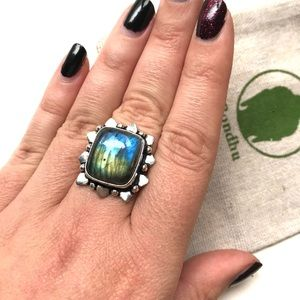 SOLD! Labradorite Sterling Silver 925 Square Ring